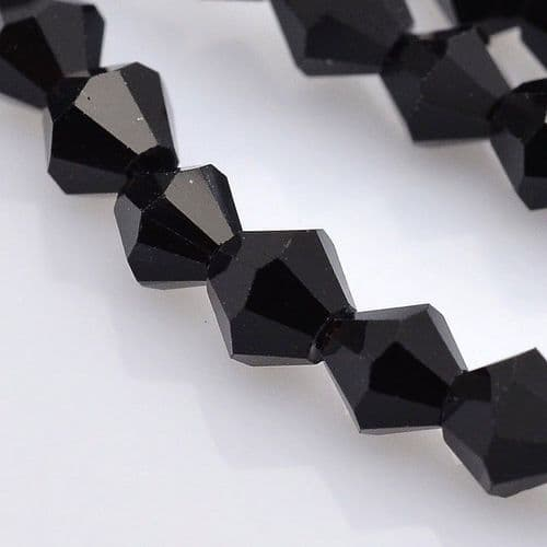 3mm Faceted Black Bicone Glass Beads